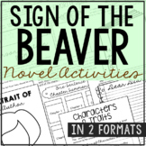 Sign of the Beaver Interactive Notebook Novel Unit Study Activities, Book Report