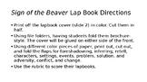 Sign of the Beaver Lapbook Formulative Assessment