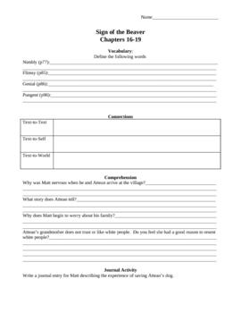 Sign of the Beaver Novel Study Worksheets