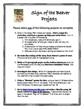 Sign of the Beaver Projects & Writing Assignments