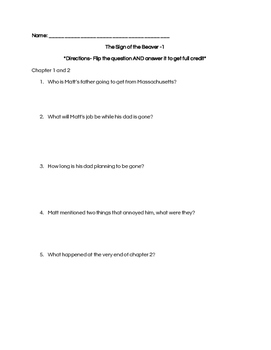 Sign of the Beaver comprehension questions