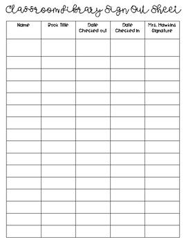 Sign out sheets