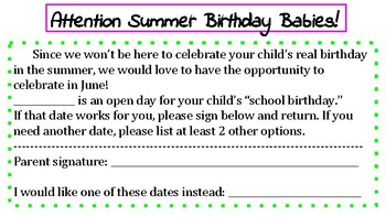 Sign up for Summer Birthdays