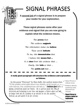 Signal Phrases:  Printable Reference for Citing Evidence