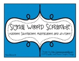 """""""Signal Word Scramble"""": A Word Problem Game for Math Centers (Level C)"""