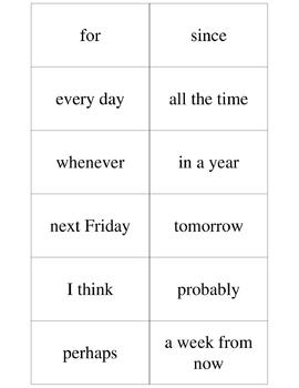 ESL - 60 Signal Words (supplement to Verb Tense Practice Card Game)