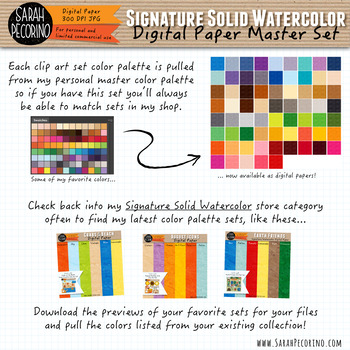 Signature Solid Watercolor Digital Papers MEGA BUNDLE