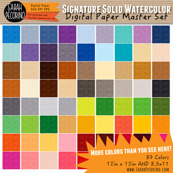 Signature Solid Watercolor Digital Papers