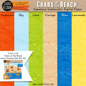 Crabs at the Beach Watercolor Digital Papers