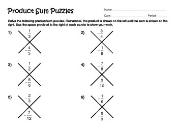 Signed Fraction Product Sum Puzzles