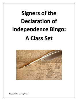 Signers of the Declaration of Independence Bingo (Class Set)