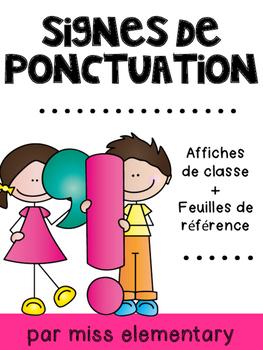 Signes de ponctuation - Affiches de classe et feuilles de référence
