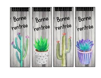 """Signets """"Bonne rentrée"""" style cactus"""