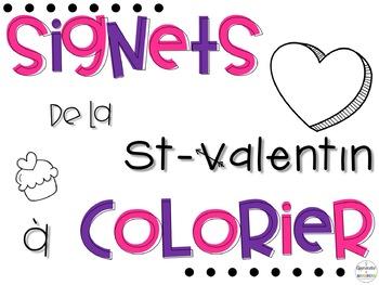 Signets de St-Valentin à colorier