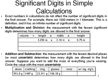 Significant Digits in Calculations