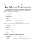 Significant Figure / Metric Conversion Quiz