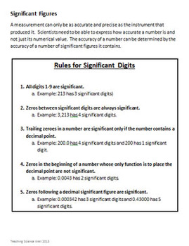 Significant Figures (Digits) Workbook with Answer Key