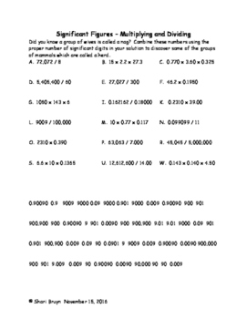 Significant Figures - Multiplying and Dividing