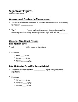 Significant Figures Notes and Practice Worksheets