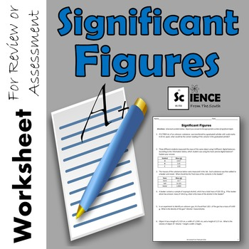 Significant Figures Word Problems Worksheet for Review or