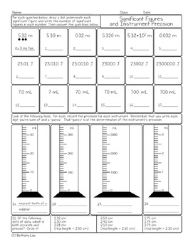 Significant Figures and Instrument Precision Chemistry Homework Worksheet
