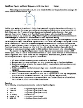 Significant Figures and Recording Calculations Notes and R