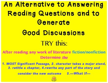 Signif Pass. Take a Stand, Re-title & What-If: An Alternative to Questions
