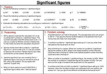 Significant figures - mastery worksheet
