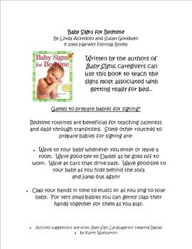 Signing Activities for use with Baby SIgns for Bedtime
