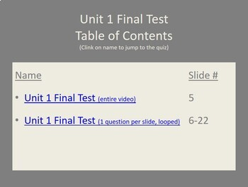 Signing Naturally Unit 1 Test Video Questions