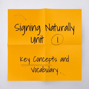 Signing Naturally Unit 1 Vocabulary / Key Concepts