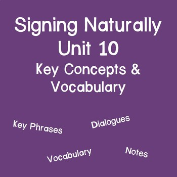 Signing Naturally Unit 10 Key Concepts and Vocabulary