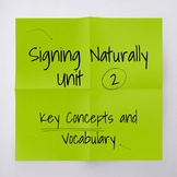 Signing Naturally Unit 2 Key Concepts and Vocabulary