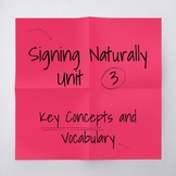 Signing Naturally Unit 3 Key Concepts and Vocabulary