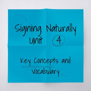 Signing Naturally Unit 4 Key Concepts and Vocabulary