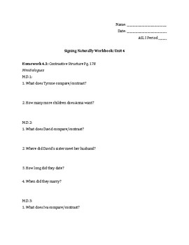 Signing Naturally Unit 4 Workbook Packet