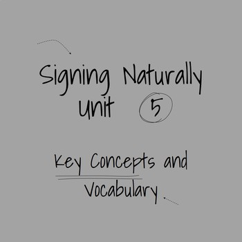 Signing Naturally Unit 5 Key Concepts and Vocabulary