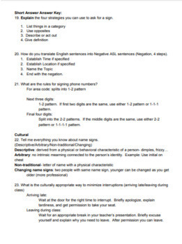 Signing Naturally Unit 8 Final Test and Answer Key