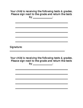 Signing and returning tests
