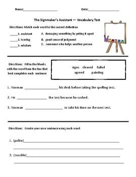 Signmaker's Assistant Comprehension & Vocabulary Test (Journeys)