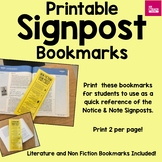 Signpost Printable Bookmark for Student Use --Annotation Reference, Text