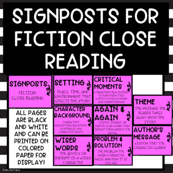 Signposts for Close Reading - Posters and Interactive Notebook Pages