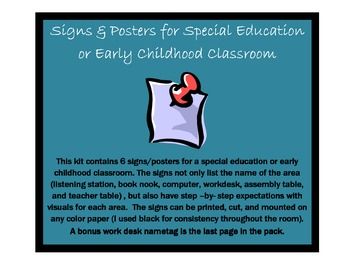 Signs and Posters for Special Education or Early Childhood Classroom