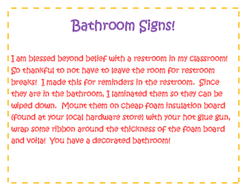 Signs for Classoom Bathroom