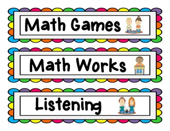 Signs for Reading and Math Centers