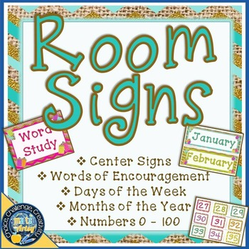 Signs for the Room Burlap and Bright for Centers and More