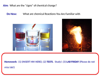 Signs of Chemical Change