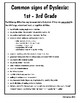 Signs of Dyslexia Preschool and Elementary Handout with Plan of Action RTI
