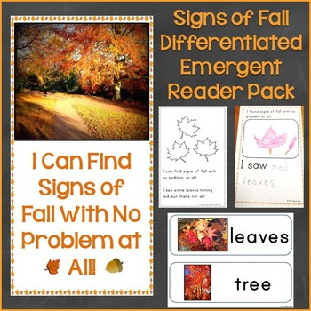 Signs of Fall Differentiated Emergent Reader Pack & Printable Pages