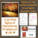 Signs of Fall Differentiated Emergent Reader Pack & Printa